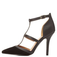 Pointed Toe T-Strap Pumps by