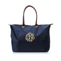 ON SALE- Navy Blue Personalized Longchamp Inspired Large Overnight Tote Bag With Free Monogramming