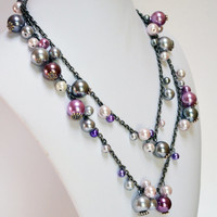 Endless High Fashion Pearls in Purple and Gray, Long pearl necklace, Womans Necklace, Layered Necklace, Silver, Pale Pink, Lavandar
