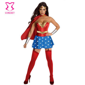 Red Corset Top With Blue Skirt & Cloak Adult Superwoman Wonder Woman Costume Cosplay Halloween Carnival Costumes For Women