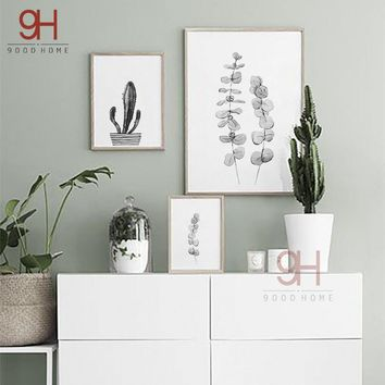 900D Canvas Art Print Painting Poster, Nordic Style Watercolor plant Wall Pictures for Home Decoration, Wall Decor NOR002