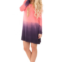 Coral and Navy Dip Dye Long Sleeve Dress