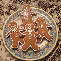 Gingerbread Men Cookies, Extra Large, with Royal Icing, group of six