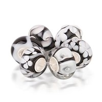 Mothers Day Gifts Simulated Onyx Murano Glass Black White Bead Bundle 925 Silver Fits Pandora