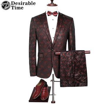 Men Wine Red Striped Suit for Wedding Groom Slim Fitted Male Burgundy Prom Suits