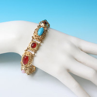 Simulated Gemstone Bracelet Gold Tone Faux Carnelian Lapis Turquoise Rose Quartz