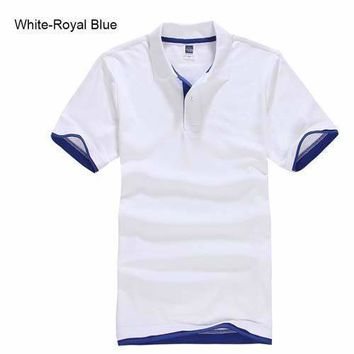 White with Royal Blue Men's/ Women's Polo Shirt XS-3XL