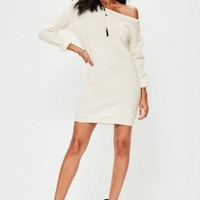 Missguided - Cream off Shoulder Knitted Sweater Dress
