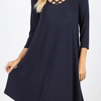 Lattice Top Dress with side pockets - Navy