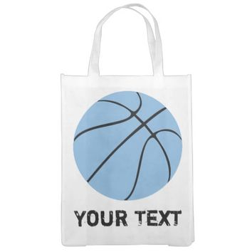 Carolina Blue Light Blue Custom Basketball Market Tote