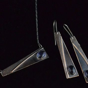 Iolite and Sterling Necklace & Earrings set