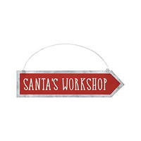 Christmas Tin Arrow Ornament / Sign (Santa's Workshop)
