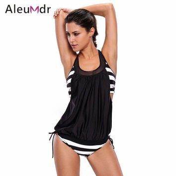 VONETDQ Aleumdr Chic Cut Out Print Polka Dot/Stripe Sexy Bikini Beach Wear High Quality Swimwear Tankini Swimsuit Women Bikinis LC410006