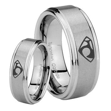 His and Hers Step Edge House of Van Tungsten Silver Wedding Rings Set