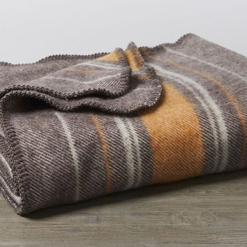 Diablo Cocoa & Persimmon Striped Wool Throw by Coyuchi