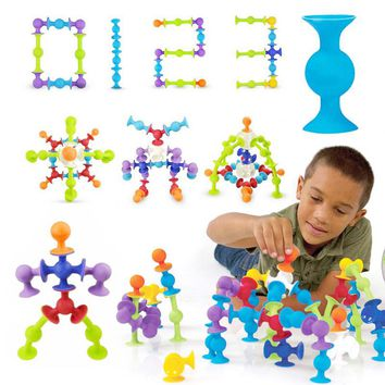 Squigz Sucker Cup Toys For Children DIY Silicone Building Blocks Assembled Toys Squigz Building Blocks Squigz Toys