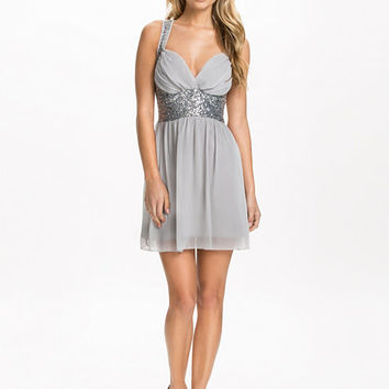 Sequin Stone Cross Back Mini Chiffon Dress - Club L - Grå/Silver - Party Dresses - Clothing - Women - Nelly.com