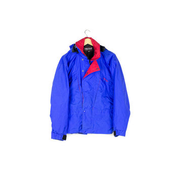 90s Marmot Gore Tex jacket / made in usa / unisex / snow / ski / snowboarding / hooded rain jacket / blue & red / hood / mens small - medium