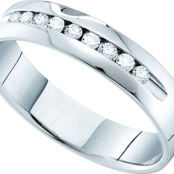 14k White Gold Womens Round Channel-set Diamond Smooth Comfort-fit Wedding Anniversary Band 1/2 Cttw 52845