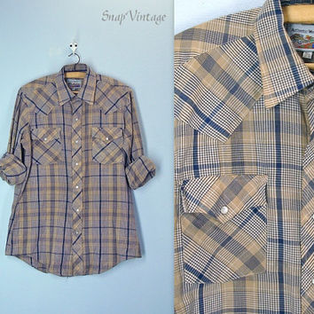Men's Western Shirt / Pearl Snap / Country Western / 70s Mens Shirt