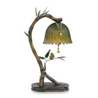 Sterling Table Lamp with a Perching Finish and Green Flower Shade