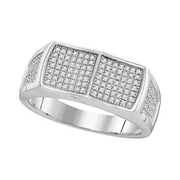 10kt White Gold Men's Round Diamond Double Square Cluster Ring 1/3 Cttw - FREE Shipping (US/CAN)