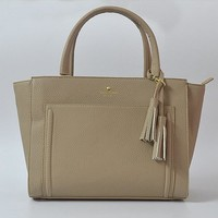 Fashion Kate Spade Women Classic Shopping Leather Tote Handbag Shoulder Bag Color Apricot