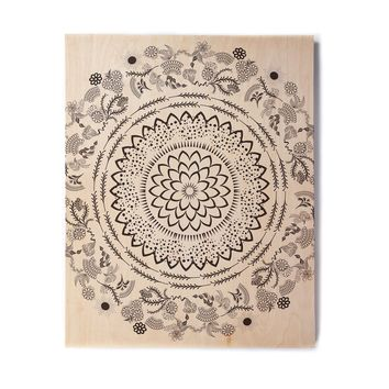 "Famenxt ""Botanical Folk Mandala"" Beige Black Illustration Birchwood Wall Art"