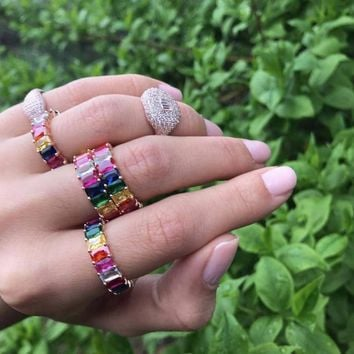 New Shiny Colorful Cute Rings Bohemia Fashion Rainbow Rhinestone CZ Punk Finger Ring Attractive Women Girls Wedding Jewelry