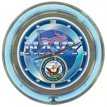United States Navy Neon Clock - 14 inch Diameter