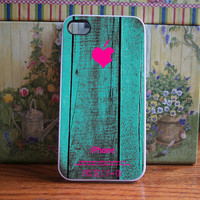 Teal Vintage wood with hot pink logo - iPhone 4S and iPhone 4 Case Cover