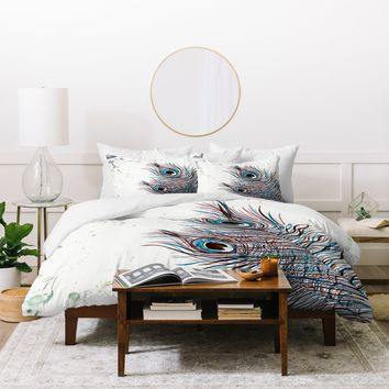 Monika Strigel Boho Peacock Feathers Duvet Cover