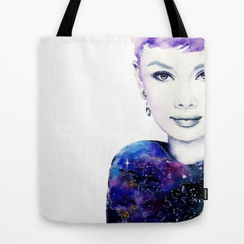audrey galaxy Tote Bag by Miss L In Art