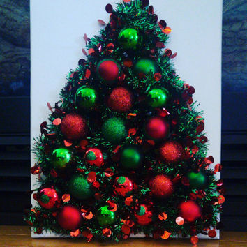 Christmas tree decor- christmas tree canvas - Christmas home decor- lighted christmas tree - Christmas sign