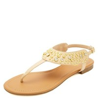 STUDDED T-STRAP THONG SANDALS