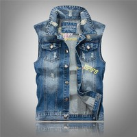 Trendy Slim Summer With Letters Pattern Veste Jean