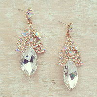 STUNNING AURORA BOREALIS CRYSTAL EARRINGS