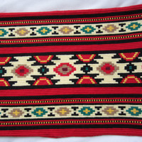 Vintage Embroderied Traditional Bulgarian Pillow case.... Vazglavniza Chiprovski kilim motif