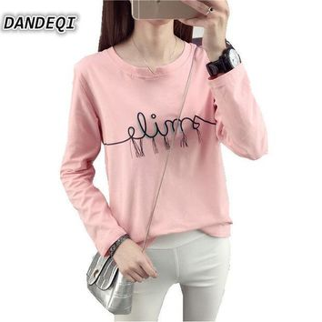 PEAPUNT Brand Tshirt New Autumn Korean Fashion Women's Cotton Top Casual Simple Bottoming Female Tee Letters Printed Long Sleeve T-shirt