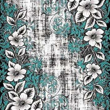 2008 Turquoise Floral Area Rugs
