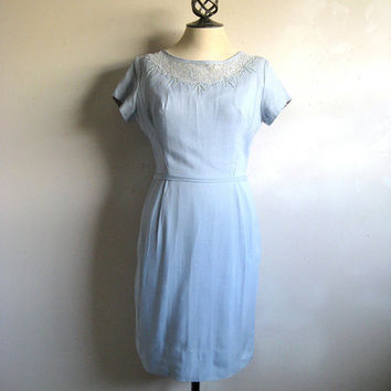 Vintage 1950s Mad Men Day Dress Pale Blue Summer Wiggle Dress Medium
