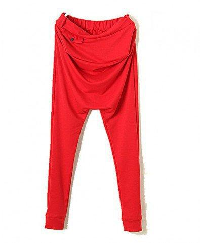 Retro High Waist Tapered Pants with Drop Crotch