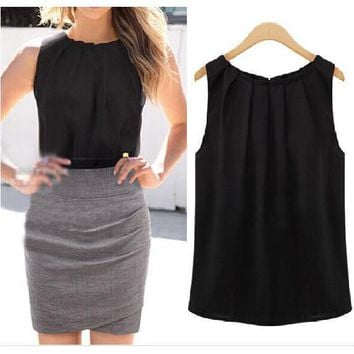 Women Blouse Newest Classic Black White Sleeveless Pleated Collar Chiffon Shirts Sexy Slim OL Style 6Q0002