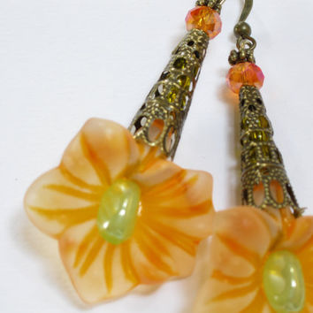 Lucite Flower Earrings Creamsicle Orange Vintage Style, Antique Filigree, Mothers Day, Easter Earrings Summer Beach Handmade