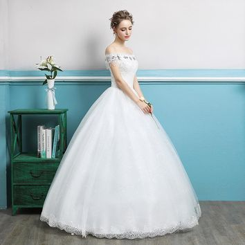 Crystal Flower Pattern Wedding Dress Boat Neck Ball Gown Sequined Off The Shoulder