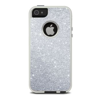 The Silver Sparkly Glitter Ultra Metallic Apple iPhone 5-5s Otterbox Commuter Case Skin Set