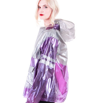 90s Vintage Metallic PVC Jacket Purple Silver Sheer Hooded Vinyl Club Kid Raver Y2K Futuristic Alien Rain Coat Clothing Unisex Size Large