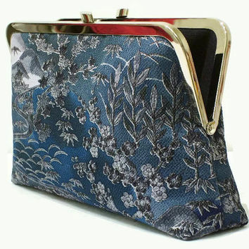 "Evening Silk Clutch Purse With Classic Japanese Floral Garden Design, Blue Bridal Silk Clutch Bag Made From Japanese Silk 9"" x 5.5"""