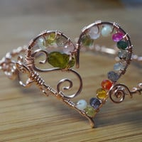 Valentines Day Heart Bracelet Gemstone Mix Peridot Wire Wrapped Light Pink Rose Silver Plated Bangle Bracelet Wire Wrapped Jewelry Handmade
