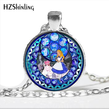 NS-00764 New Kingdom Hearts Alice Necklace Handcraft Round Alice in wonderland Glass Cabochon Necklace Pendant Jewelry HZ1